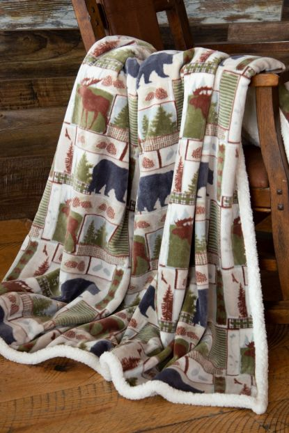 Vintage Lodge Sherpa Throw