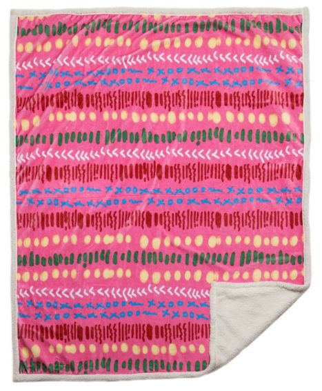 Fuchsia Garden Sherpa Throw