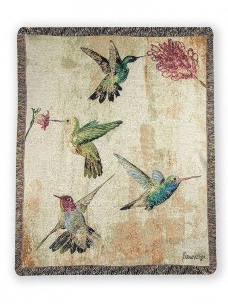 Hummingbird Floral Woven Throw