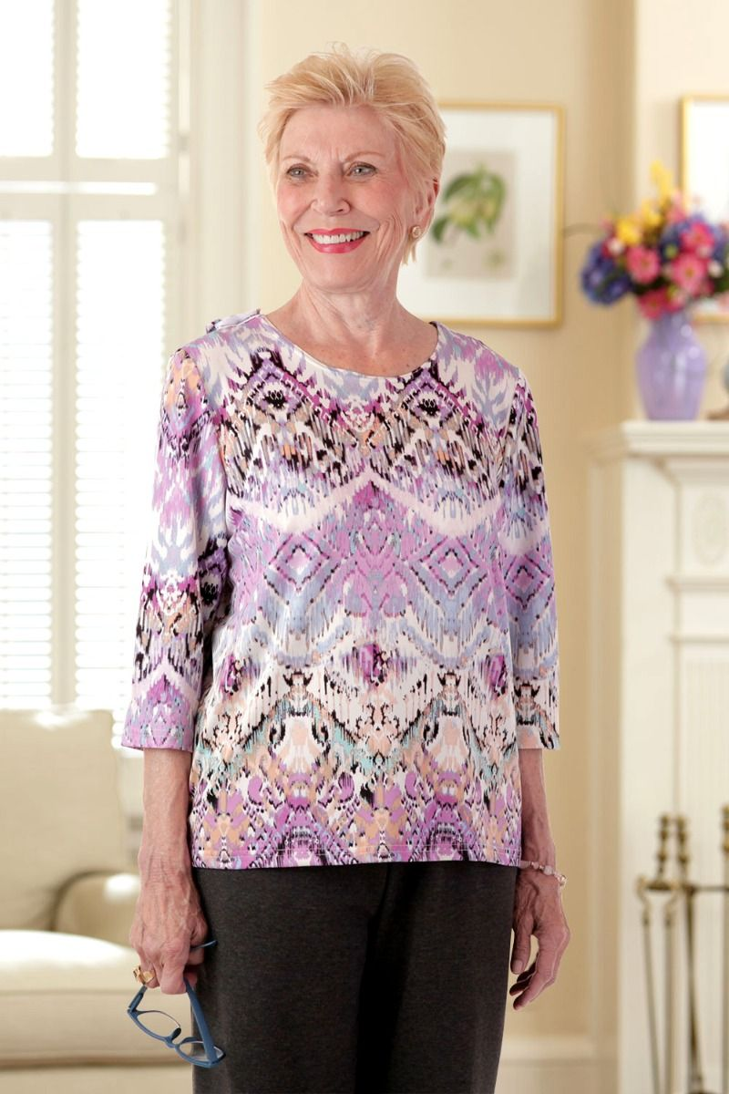 Poly Wrap Back Round Neck Blouse Adaptive Clothing For