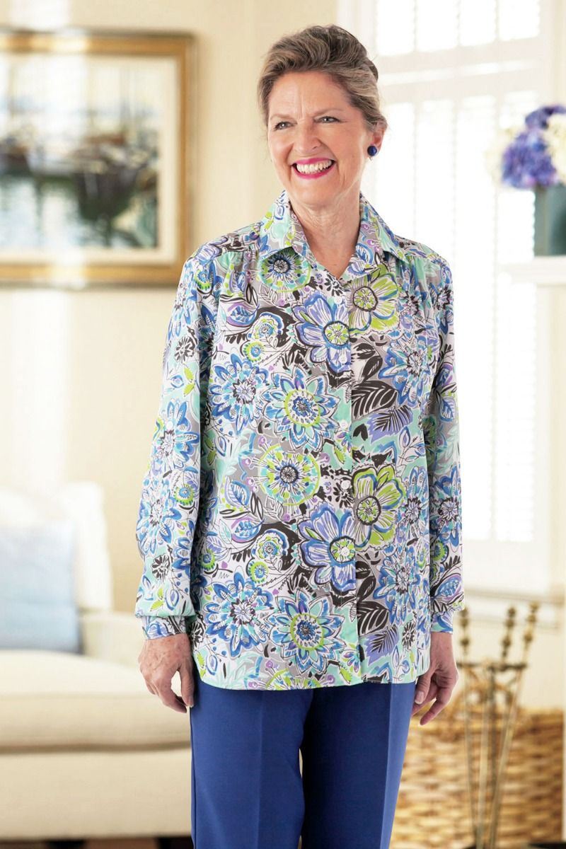 Polyester Roll Sleeve Blouse W Velcro Brand Fasteners Adaptive