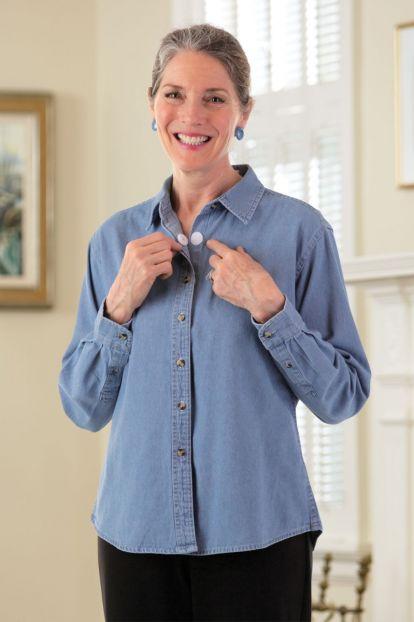 Light Denim Shirt w/ VELCRO® Brand Fasteners