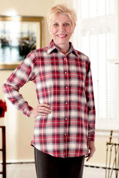Women's Flannel Shirt-Button Front