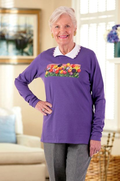 Women's Long Sleeve Printed T with Collar