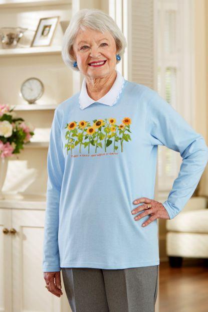 Women's Long Sleeve Printed Snap-Back T-Shirt w/Collar