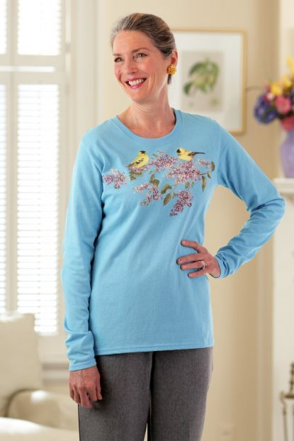 Women's Long Sleeve Printed T-Shirt without Collar