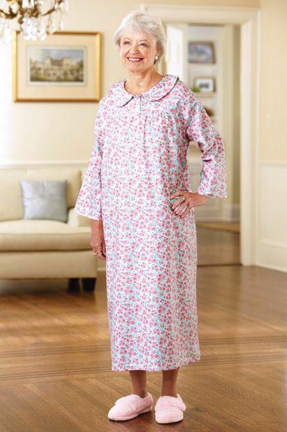 Long Flannel Open Back Nightgown