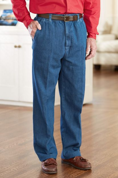 Denim Putter Pants (S-XL) with VELCRO® Brand Fastener Fly
