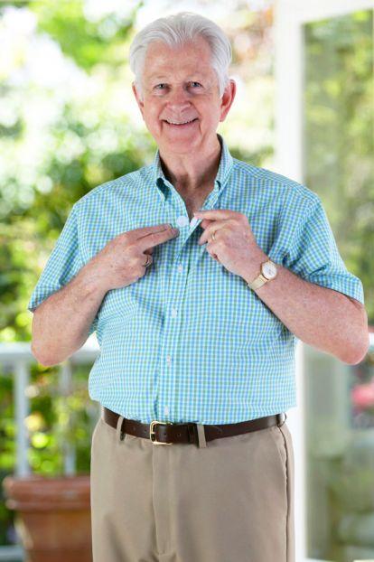 Short Sleeve Gingham Shirt w/ VELCRO® Brand Fasteners