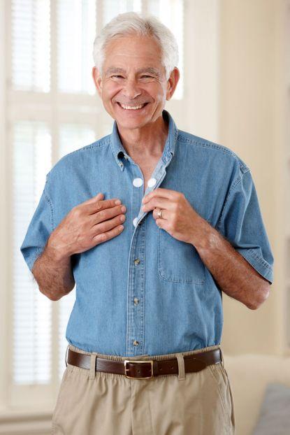 Short Sleeve Denim Shirt w/ VELCRO® Brand Fasteners