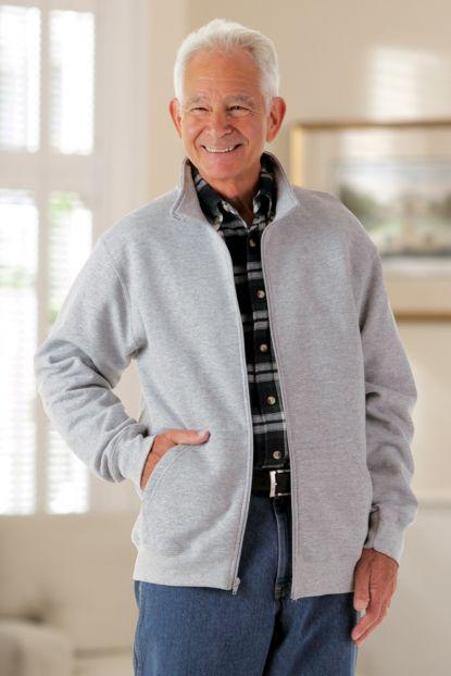 Men's Zip Front Sweat Fleece Cardigan