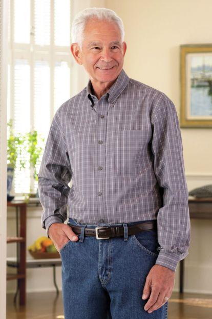 Long Sleeve Tattersall Button Front Shirt