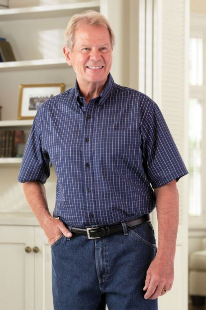 Short Sleeve Tattersall Button Front Shirt