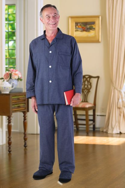 Men's Cotton/Poly Pajamas-VELCRO® Brand fastener Front