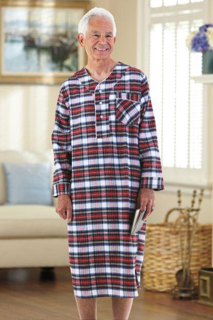 Flannel Open Back Nightshirt