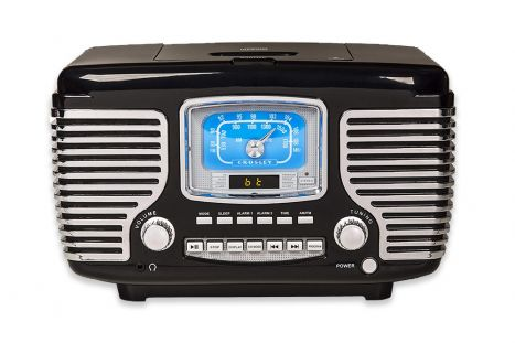 Crosley Retro AM/FM Dual Alarm Clock Radio with CD Player and Bluetooth