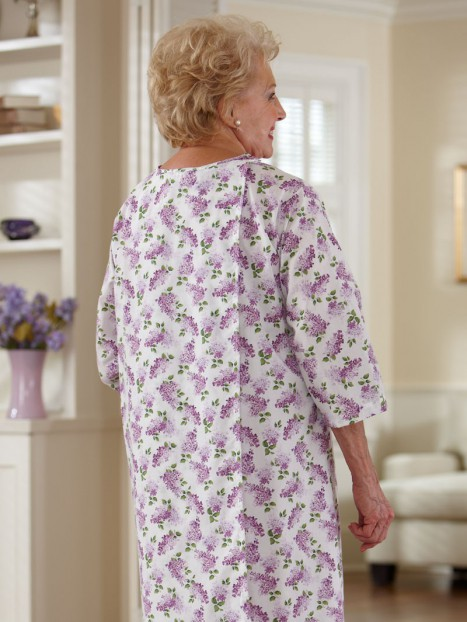 Cotton/Poly Open Back Nightgown