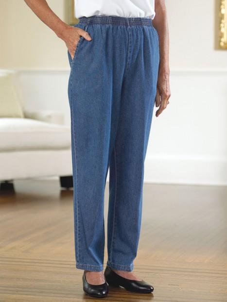 Women's Cotton Denim Pull-On Slacks