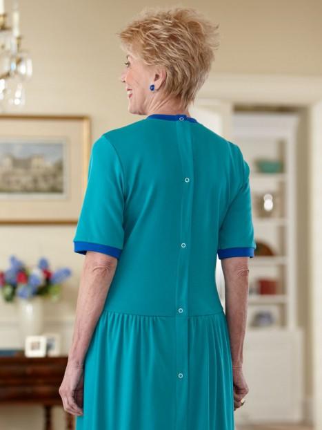 Short Sleeve Solid Knit Snap Back Dress