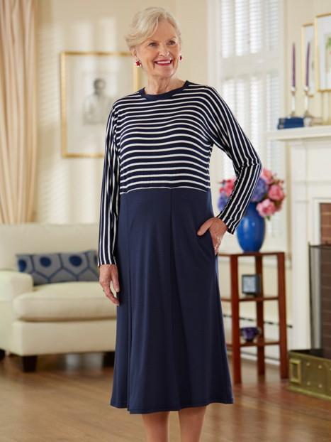 Striped Bodice Snap Back Knit Dress-15% Off