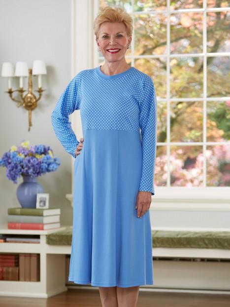 Polka-Dot Bodice Snap Back Knit Dress