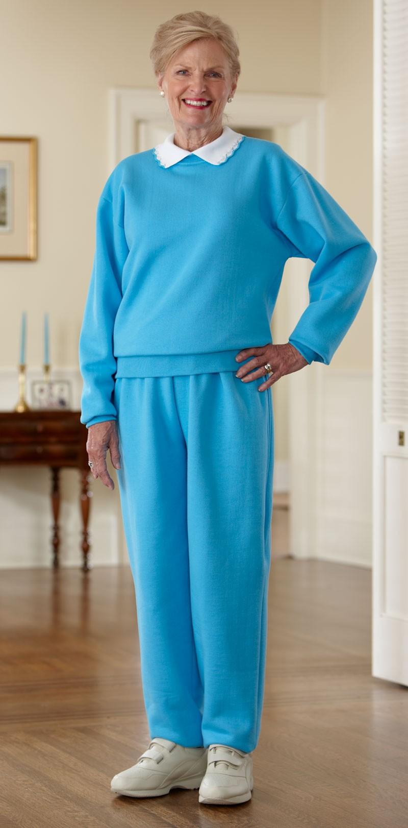 Women 39 s basic adaptive sweatsuit with collar buck buck for How to not sweat through dress shirts