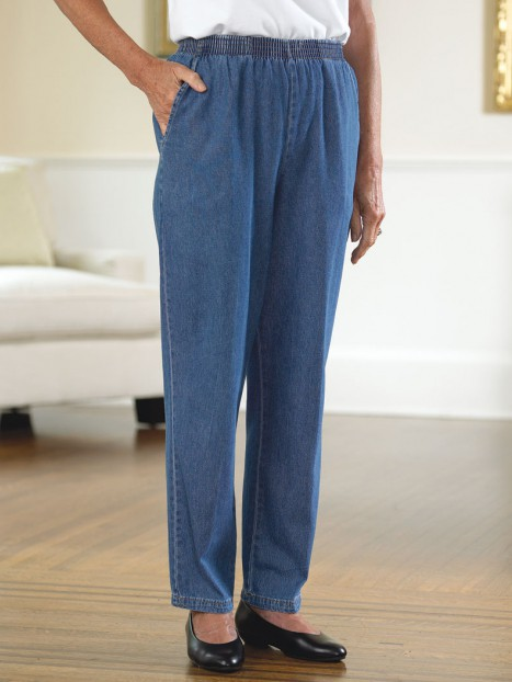 Women's Cotton Denim Pull-On Slacks