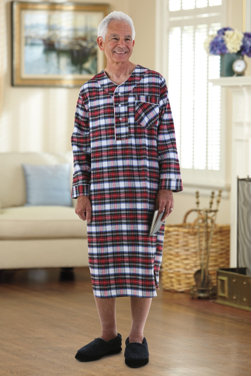 Flannel Open Back Nightshirt – Buck   Buck 4b3f77121