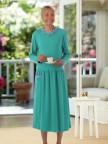 Long Sleeve Solid Knit Snap Back Dress Image 3