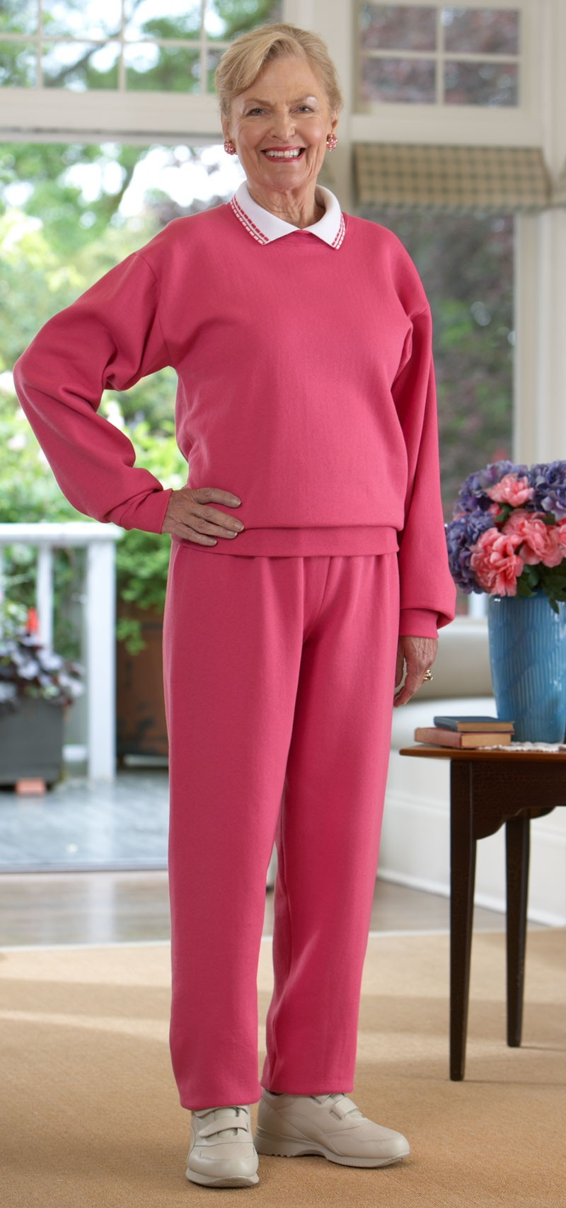 Women's Large Size Basic Sweatsuit with Collar (2X-4X ...