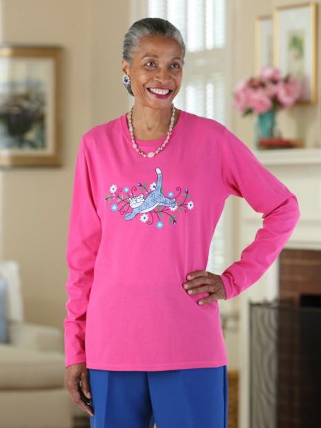 Women's L.S. Printed Snap Back T-Shirt