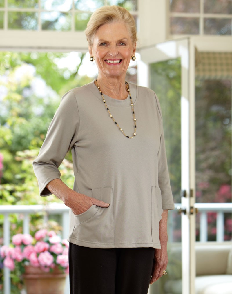 Solid Knit Top with Pockets